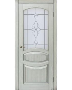 Грация со стеклом Белая эмаль + патина серебро